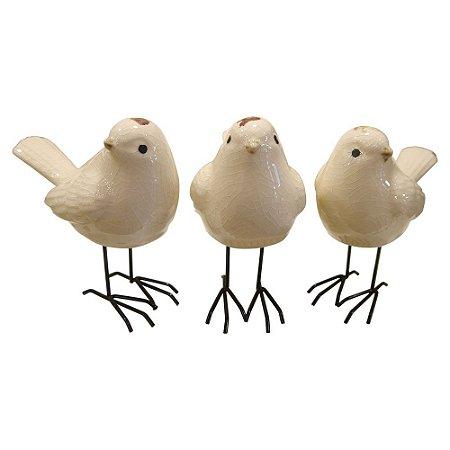 Jogo c/ 3 Pássarinhos de Cerâmica Branco