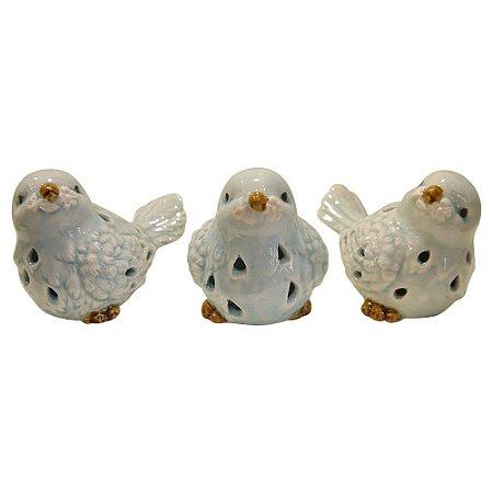 Jogo c/ 3 Pássarinhos Azuis de Cerâmica