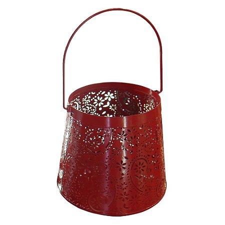 Lanterna Vermelha Grande em Metal