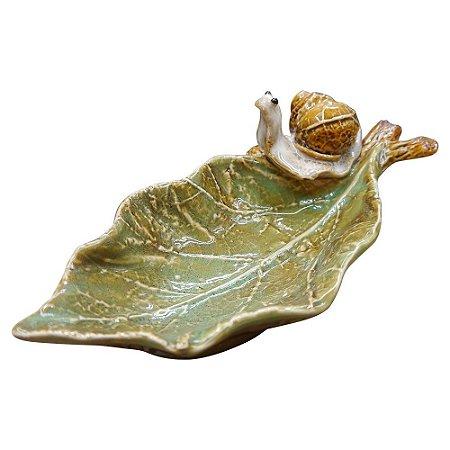 Porta Objeto de Cerâmica Folha com Caracol