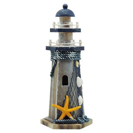 Farol de Madeira Decorativo Estrela
