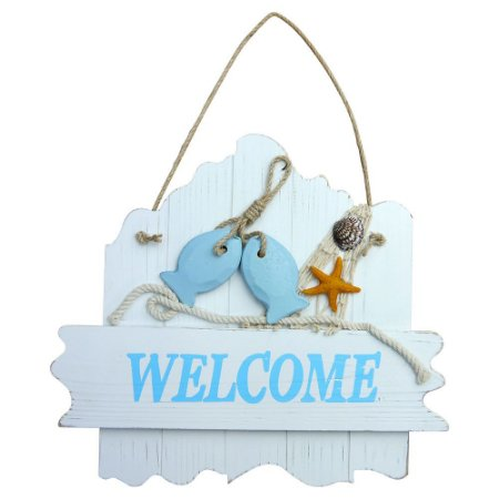 Decorativo de Madeira Welcome Navy