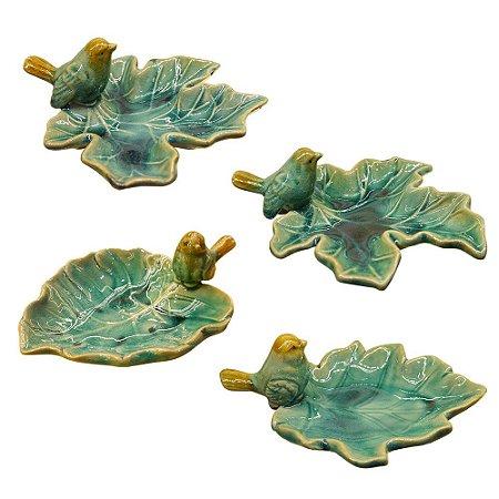 Jogo c/ 4 Porta Objetos de Cerâmica Folhas