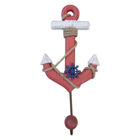 Cabideiro de Madeira Âncora Vermelha