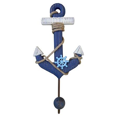 Cabideiro de Parede Madeira Âncora Azul Marinho