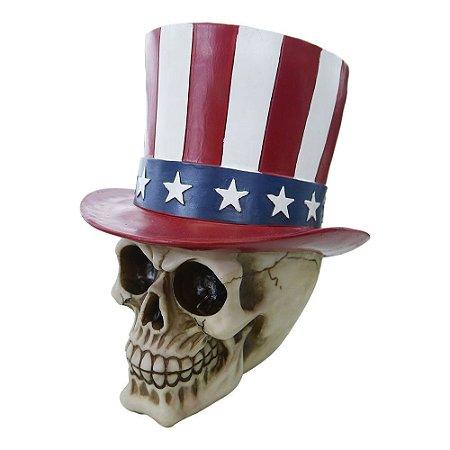 Decorativo Caveira Uncle Sam de Resina