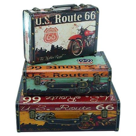 Jogo c/ 3 Maletas Vintages Route