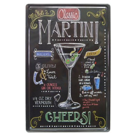 Placa de Metal Martini