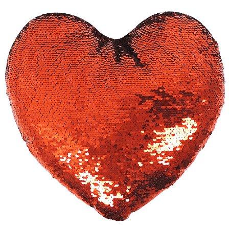 Almofada Glitter Coração Lantejoulas Vermelho com Prata