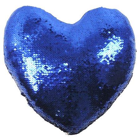 Almofada Glitter Coração Lantejoulas Azul com Prata