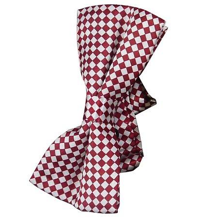Gravata Borboleta Quadriculado Bordô