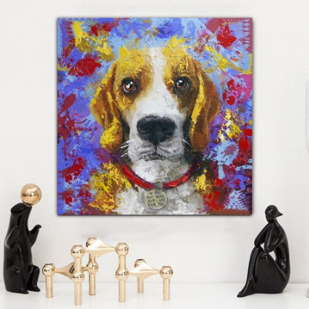 Quadro Canvas Colorido Beagle 60cm