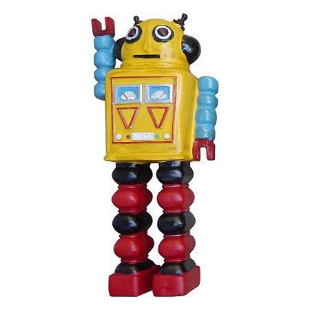 Enfeite Robô Amarelo de Resina