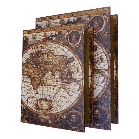Jogo com 2 Porta Objetos estilo Livro Mapa Mundi