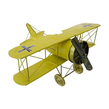 Decorativo Avião Amarelo de Metal
