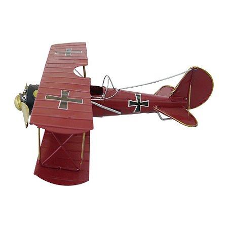 Decorativo Avião Vermelho de Metal
