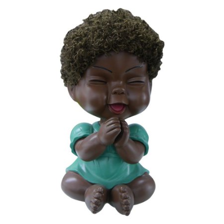 Cofre Bebê Negra Vestidinho Verde