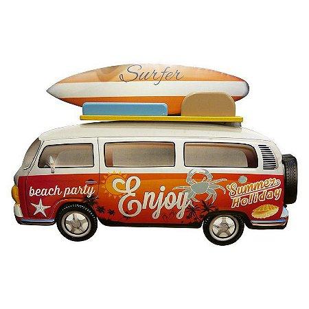 Placa de Metal Kombi Surf Enjoy Laranja