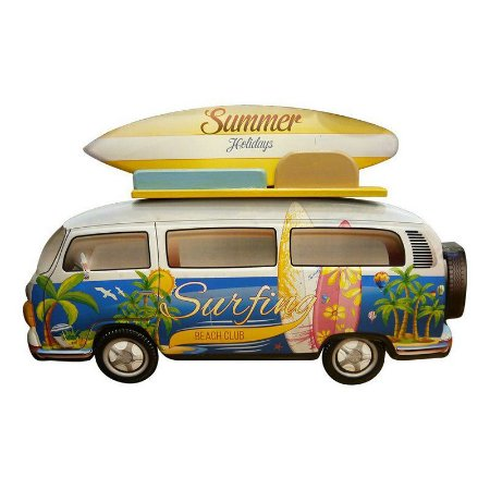 Placa de Metal Kombi Surf Enjoy Azul