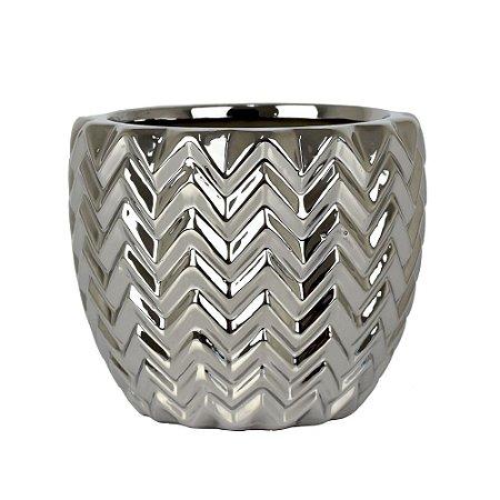 Vaso de Cerâmica Texturizado Prata
