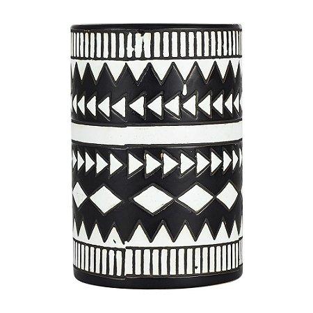 Vaso de Cerâmica Mahal Preto e Branco