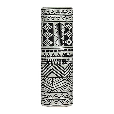 Vaso de Cerâmica Mahal Preto e Branco Grande