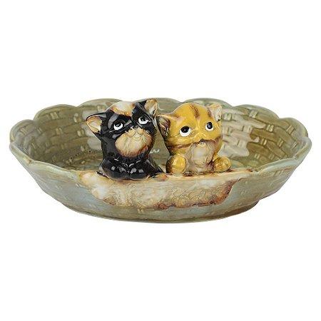 Porta Objetos Gatinhos em Cerâmica