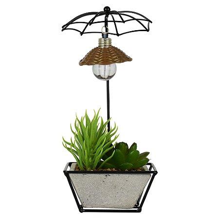Vaso Umbrella com Flor Permanente