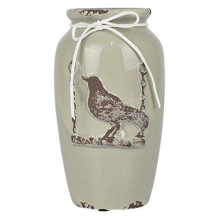 Vaso de Cerâmica Vintage Pássaro