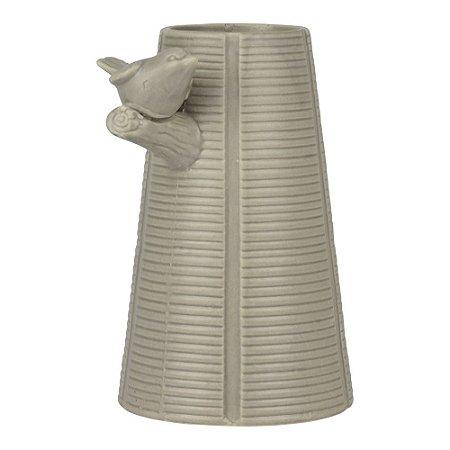 Vaso de Cerâmica Cinza com Pássaro