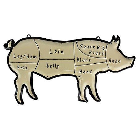 Placa Farm Pig Relevo 50x40cm