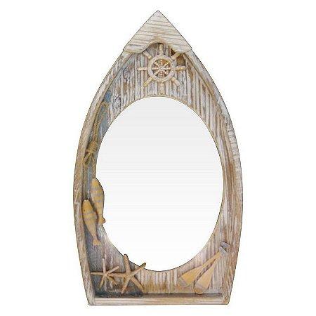 Espelho de Madeira Barco Marrom