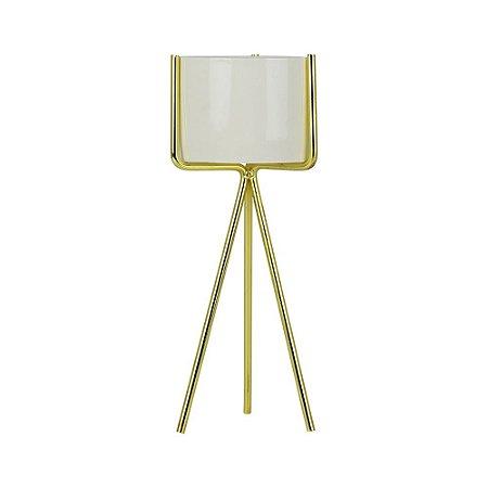 Porta Vela Dourado Glass Pequeno