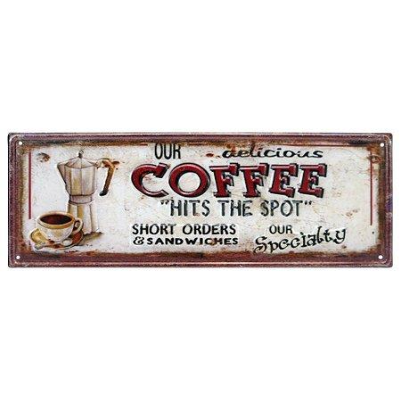 Placa de Metal Coffee Delicious