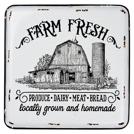Placa de Metal Farm Fresh 35x40cm