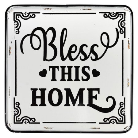 Placa de Metal Bless This Home 35x40cm