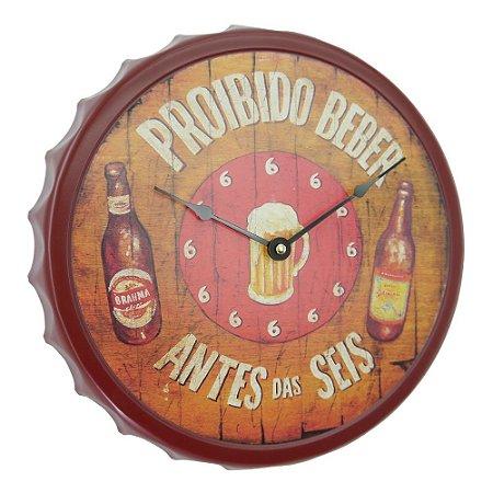"""Relógio """"Proibido Beber Antes das Seis"""" Tampa em Metal"""