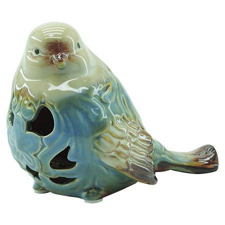 Enfeite Passarinho Azul em Cerâmica