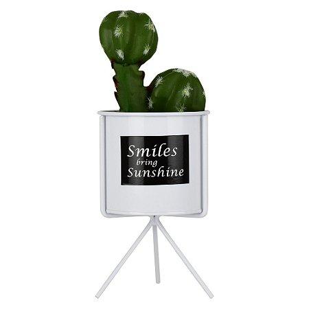 Vaso Smiles Com Suculenta Artificial
