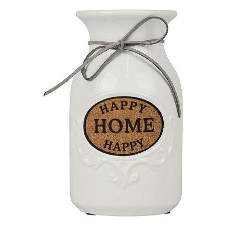 Vaso Garrafinha Happy Home Branco em Cerâmica