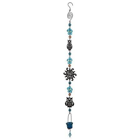 Pendente Coruja c/ flor Azul
