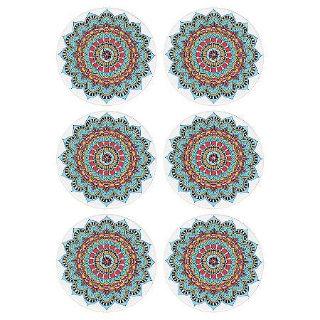 Jogo c/6 Porta Copos Mandala Azul em Cerâmica