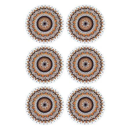 Jogo c/6 Porta Copos Mandala Laranja em Cerâmica