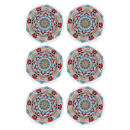 Jogo c/6 Porta Copos Mandala Flor em Cerâmica