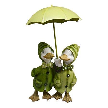 Enfeite Patos na Chuva em Resina