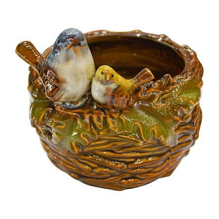 Pote Ninho de Pássaros em Cerâmica