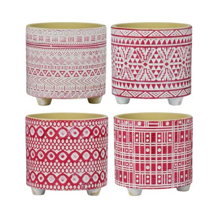 Vaso de Cerâmica Jogo C/4 Vasos