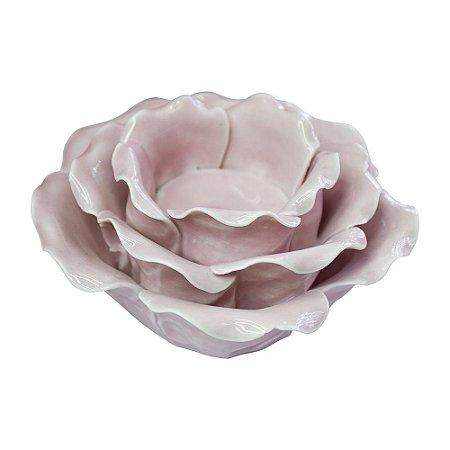 Porta Vela Flor em Cerâmica Rosa