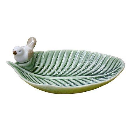 Porta Objetos Folha e Passárinho em Cerâmica