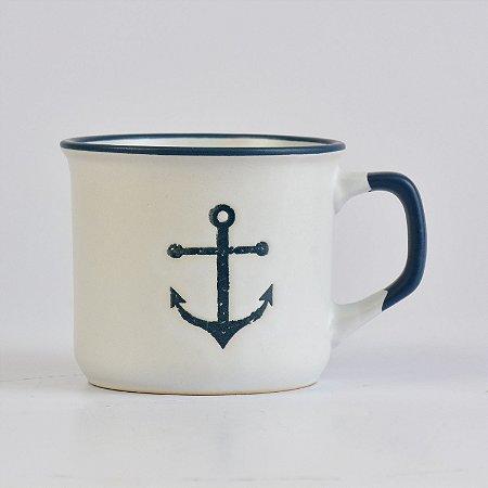 Caneca Ocean Branca Âncora em Cerâmica
